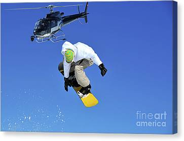 Filming A  Snowboarder Jumping Canvas Print