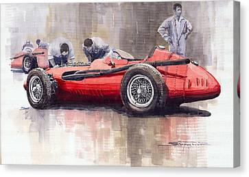 Final Check Before The Start Maserati 250 F 1957 Canvas Print by Yuriy  Shevchuk