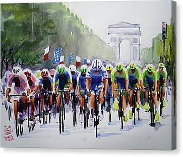Final Pelaton Action Canvas Print by Shirley Peters