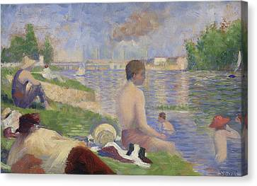 Final Study For Bathers At Asnieres Canvas Print by Georges Pierre Seurat
