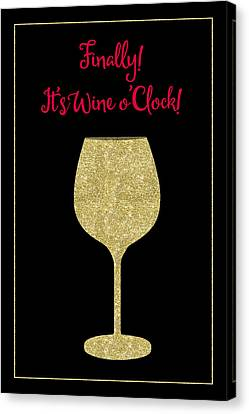 Finally It's Wine O'clock Humorous Modern Poster Canvas Print by Tina Lavoie