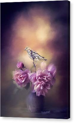 Finch And The Flowers Canvas Print