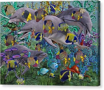 Schooling Canvas Print - Find The Sea Dragon by Betsy Knapp