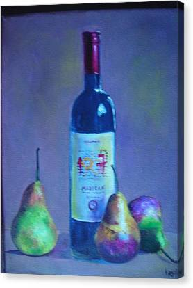 Fine Wine Paintings - A French Wine With Pears Canvas Print by Virgilla Lammons