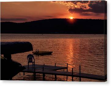Finger Lakes New York Sunset By The Dock 01 Canvas Print by Thomas Woolworth