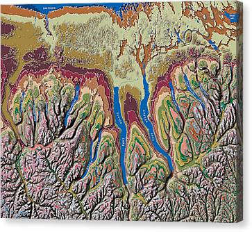 Finger Lakes Canvas Print - Finger Lakes Of New York Contour Map by Paul Hein