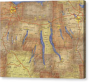 Finger Lakes Canvas Print - Finger Lakes Of New York Watercolor Map by Paul Hein