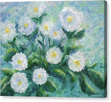 Finger Painted Garden Flowers Canvas Print by Barbara McMahon