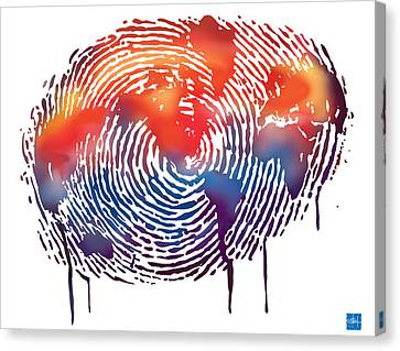 Finger Print Map Of The World Canvas Print by Sassan Filsoof