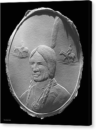 Canvas Print featuring the relief Fingernail Relief Drawing Of American Indian  by Suhas Tavkar