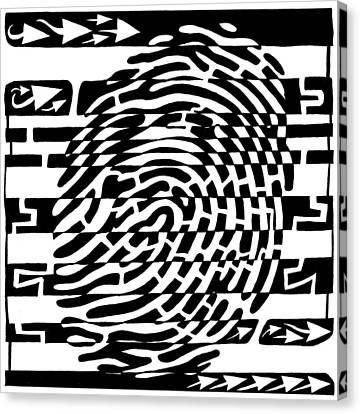 Fingerprint Scanner Maze Canvas Print by Yonatan Frimer Maze Artist