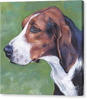Canvas Print featuring the painting Finnish Hound by Lee Ann Shepard