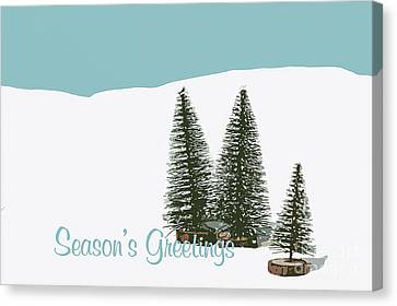 Fir Trees In The Snow Christmas Card Canvas Print by Wolf Kettler