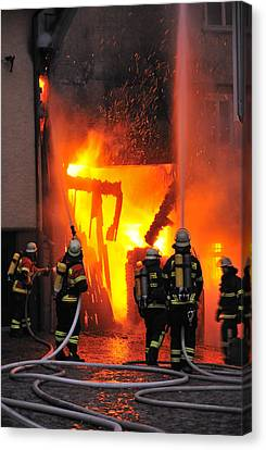 Fire - Burning House - Firefighters Canvas Print by Matthias Hauser