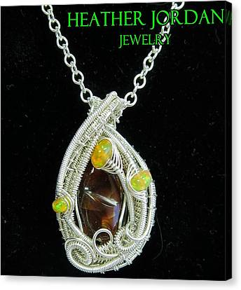 Fire Agate Pendant In Sterling Silver With Ethiopian Welo Opals Fragpss1 Canvas Print by Heather Jordan