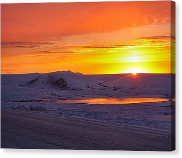 Canvas Print featuring the photograph Fire And Ice by Adam Owen