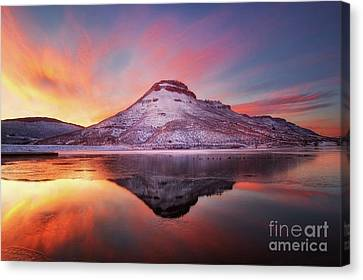 Fire And Ice - Flatiron Reservoir, Loveland Colorado Canvas Print by Ronda Kimbrow