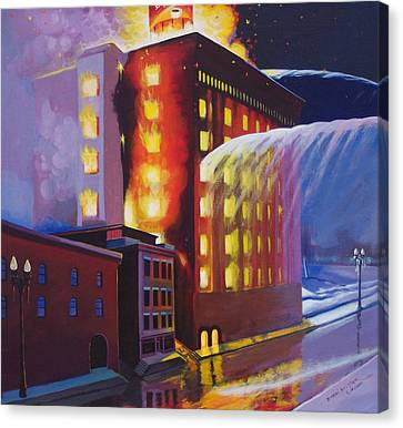 Fire At The Butternut Building Canvas Print by Bobbi Baltzer-Jacobo