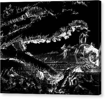 Canvas Print featuring the photograph Fire Black And White by Britt Runyon