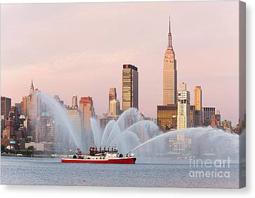 Fire Boat And Manhattan Skyline I Canvas Print by Clarence Holmes
