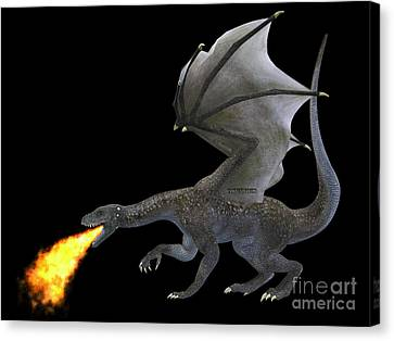 Breathing Canvas Print - Fire Breathing Dragon by Corey Ford
