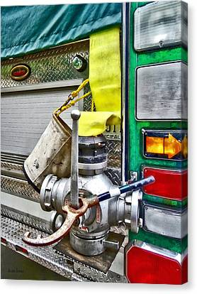 Fire Bucket And Yellow Fire Hose Canvas Print
