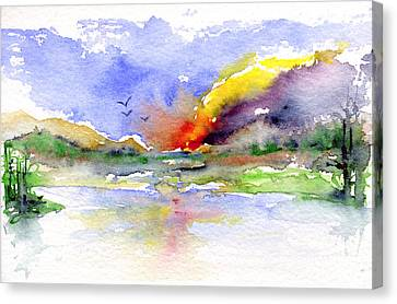 Fire By The Stream Canvas Print by John D Benson