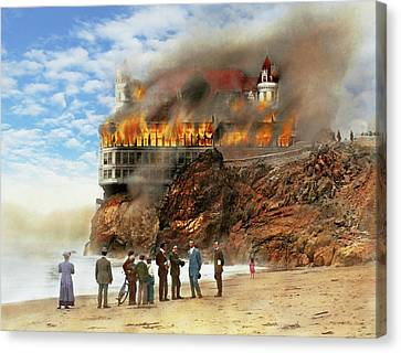 Fire - Cliffside Fire 1907 Canvas Print by Mike Savad