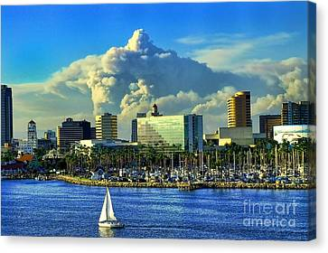 Canvas Print featuring the photograph Fire Cloud Over Long Beach by Mariola Bitner