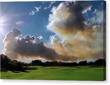 Fire Clouds Over A Golf Course Canvas Print
