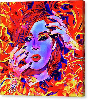 Fire Demon Woman Abstract Fantasy Dark Goth Art Canvas Print by Elizavella Bowers