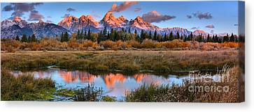 Fire From The Teton Tips Panorama Canvas Print
