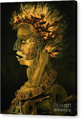 Oil Lamp Canvas Print - Fire by Giuseppe Arcimboldo