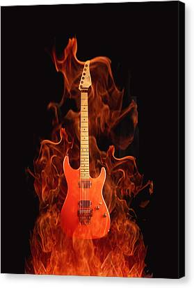 Isolated Canvas Print - Fire Guitar by Art Spectrum