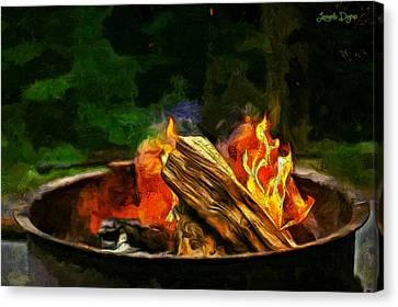 Barbecue Canvas Print - Fire In The Pot - Da by Leonardo Digenio