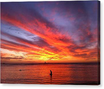 Canvas Print featuring the photograph Fire In The Sky by Erika Swartzkopf