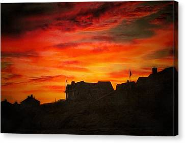 Fire In The Sky Canvas Print by Jim  Nooney
