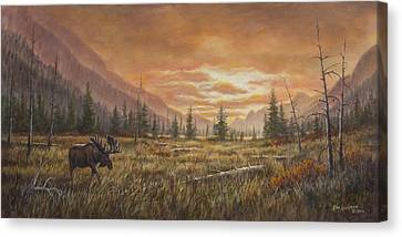 Canvas Print featuring the painting Fire In The Sky by Kim Lockman