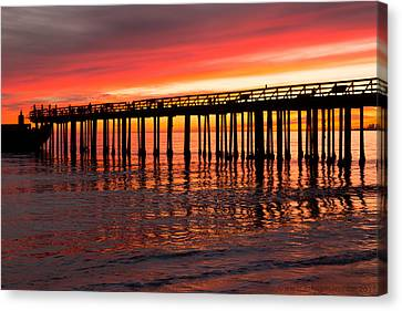 Fire In The Sky Canvas Print by Lora Lee Chapman