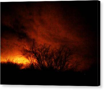 Fire In The Sky Canvas Print by Nature Macabre Photography