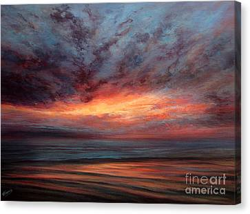 Fire In The Sky Canvas Print by Valerie Travers
