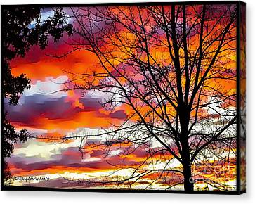 Fire Inthe Sky Canvas Print by MaryLee Parker