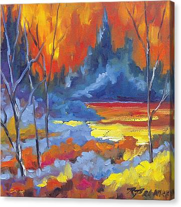 Fire Lake Canvas Print by Richard T Pranke