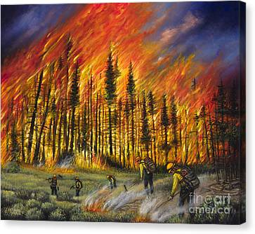 Fire Line 1 Canvas Print by Ricardo Chavez-Mendez