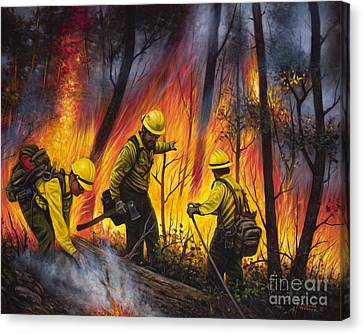Fire Line 2 Canvas Print by Ricardo Chavez-Mendez