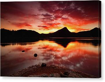 Canvas Print featuring the photograph Fire Of Fall by John De Bord
