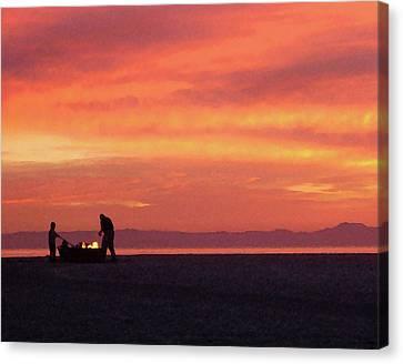 Fire On The Beach Canvas Print