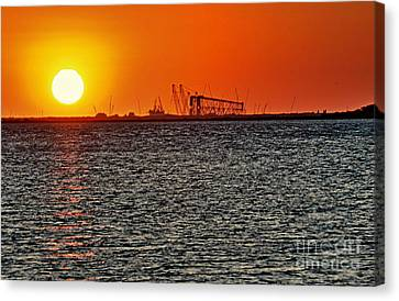 Fire On The Water Canvas Print by Ken Williams