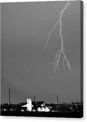 Fire Rescue Station 67  Lightning Thunderstorm 2c Bw Canvas Print