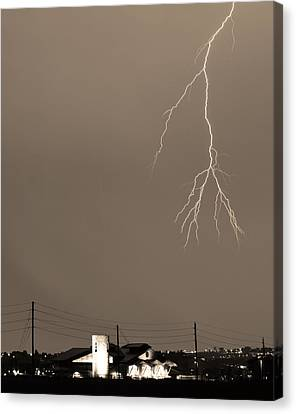 The Lightning Man Canvas Print - Fire Rescue Station 67  Lightning Thunderstorm 2c Bw Sepia by James BO  Insogna